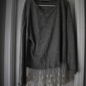 Gray Sweater with Lace at Bottom